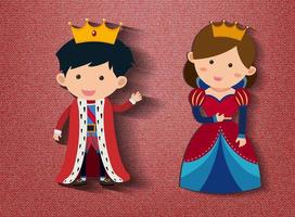Little king and queen cartoon character on red background vector