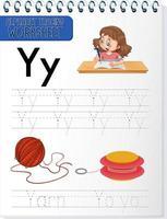 hoja de trabajo de rastreo alfabético con las letras yey
