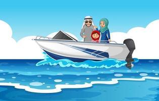 escena del mar con familia árabe en la lancha rápida vector
