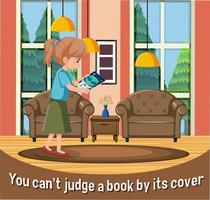 English idiom with picture description for you can't judge a book by its cover vector