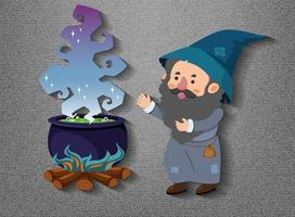 Little wizard cartoon character with potion pot vector