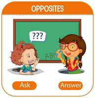 Opposite words with ask and answer vector