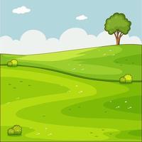 Blank green meadow nature scene vector