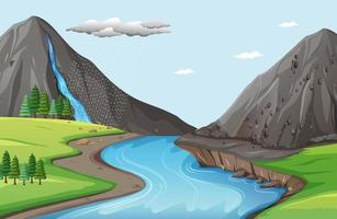 Nature scene with water falls from stone cliff vector