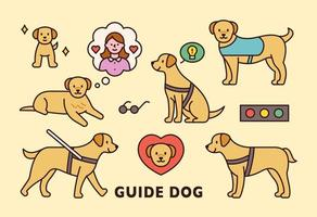 Cute blind guide dog icon.