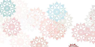 patrón de vector rosa claro, verde con copos de nieve de colores.