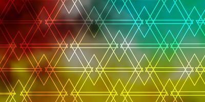 Fondo de vector multicolor claro con líneas, triángulos.