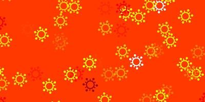 Light orange vector background with covid-19 symbols.