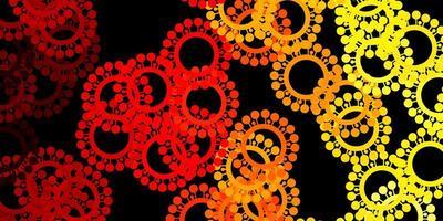 Fondo de vector rojo oscuro, amarillo con símbolos covid-19