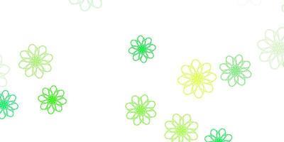 diseño natural del vector verde claro, amarillo con flores.