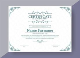 Classic style award certificate with frame vector