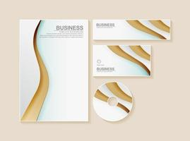 Business stationery set in gold and white color vector