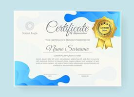 Abstract wave style award certificate in blue vector