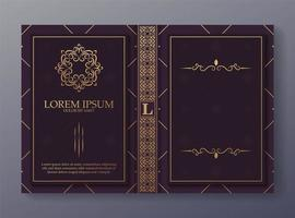 Ornamental book cover design template vector