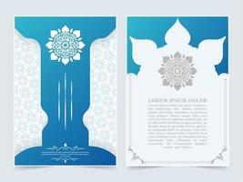 Blue Islamic cover with mandala concept set vector