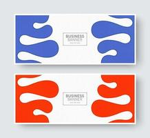 Abstract wave banner set in orange and blue colors