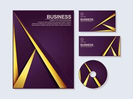 Business stationery abstract set in purple gold color vector