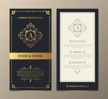 Restaurant menu with elegant ornamental style set vector