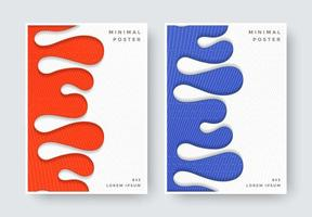 Abstract wave cover set in orange and blue colors