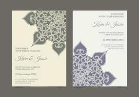 Retro mandala style wedding invitation set vector