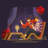Warm Chocolate Dinner on Valentine Night vector