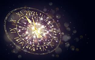 Happy New Year 2021 Sparking Clock Countdown vector