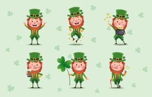 colección de lindos st. patrick's leprechaun personajes de dibujos animados vector