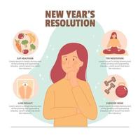 Thinking About New Year Resolution vector