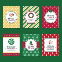 Colorful Flat Merry Xmas Concept Cards vector
