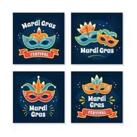 Mardi Gras Mask Card Collectio vector