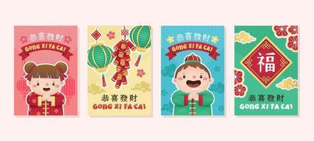 Cute Gong Xi Fa Cai Greeting Card vector