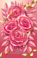 Happy Valentine's Day Pink Rose Flowers Poster vector