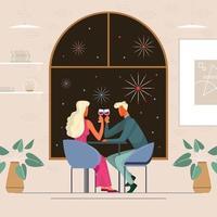 Cena romántica con concepto de vista de fuegos artificiales vector