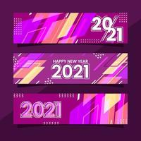 Colorful Modern Shapes 2021 New Year Banner Collection vector