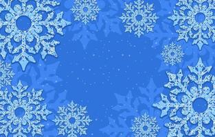 Blue Background Littered with Snowflakes vector
