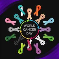 World Cancer Day Ribbons vector