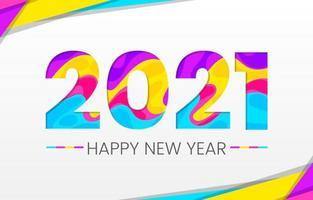 colorido estilo de papel abstracto 2021 año nuevo vector