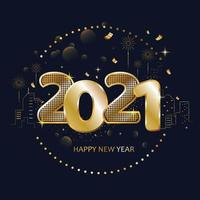 Happy New Year 2021 with Luxurious Gold Color vector
