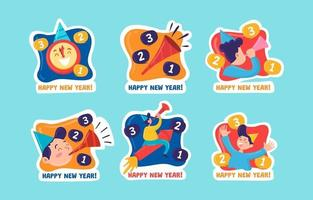 Stickers of New Year Countdown vector