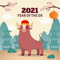 Cute Ox Wearing Traditional Chinese Hat