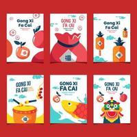 Modern Flat Cute Gong Xi Fa Cai Cards vector