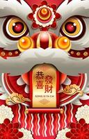 Gong Xi Fa Cai Lion Dance Head Concept vector