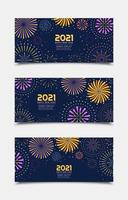 Happy New Year 2021 Flat Fireworks Banner Templates vector
