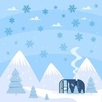 Flat Design Snowflakes Rain and A House Scenery vector