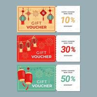 Colourful Chinese New Year Gift Voucher vector
