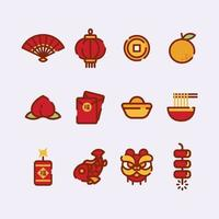 Set of Cute Chinese New Year Icon vector