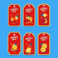 Set of Red Gold Prosperity Lunar New Year Label