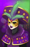 Mysterious Lady In Golden Mask Illustration