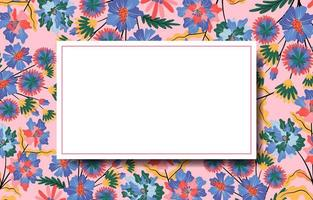 Natural Flowery Background with White Frame in Middle vector