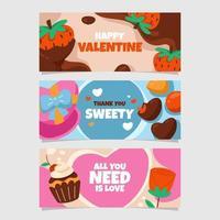 banner de chocolate de San Valentín vector